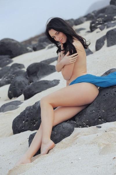 Alluring leggy brown hair at the beach
