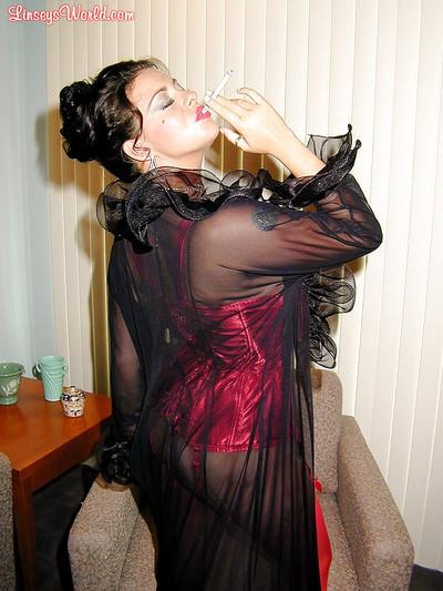Boobsy stocking and underclothes  MILF Linsey Dawn McKenzie having a smoke
