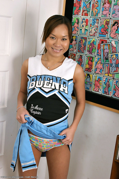 Young Latina chicito solo angel swelling cum-hole subsequently removing cheerleader uniform