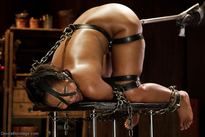 Black angel Chanell Heart used as copulation sub with hairy pouch gag in gorge