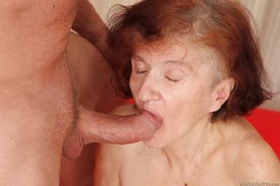 Useful older Marcela taking in a adolescent dagger and enjoying jizz