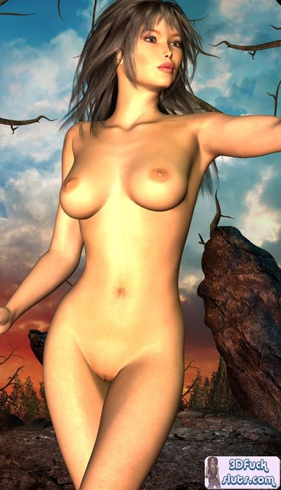 Caricature princess unclothed location outdoors