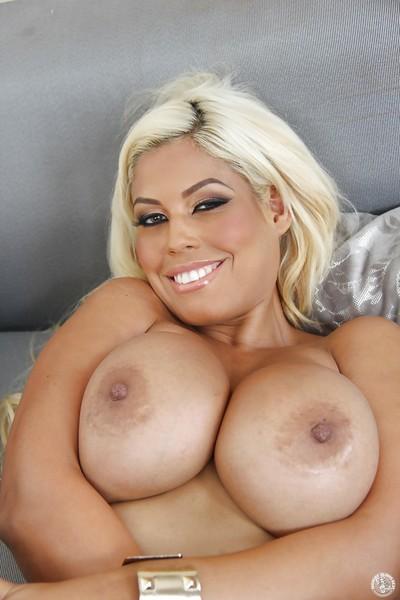 Fairy milf gal with vast mounds Bridgette B demonstrates her anus