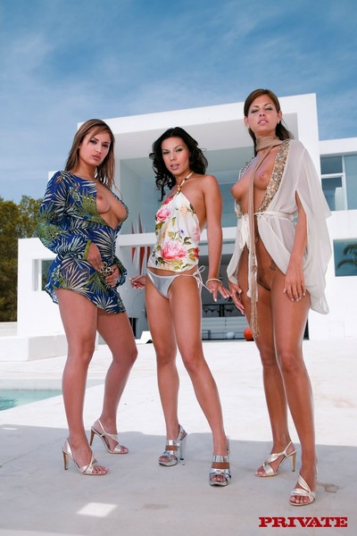 Triple perfect gals at ibiza sharing a snake in a foursome
