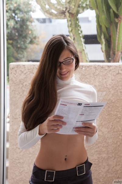 Nerdy young tease outdoors