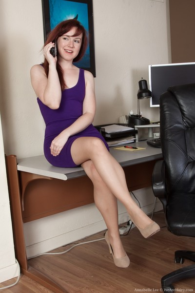 Annabelle Lee is marvelous in her purple dress. As this girl widens her legs, this girl shows all her  slit underneath. The nylons come off, and this girl lays across the desk showing off her all-natural body.