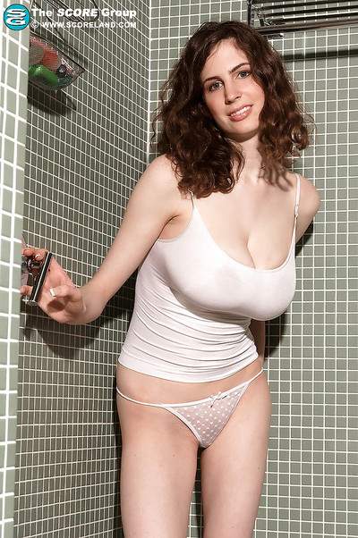 Damp dear with vast love bubbles Lillian Faye pleasing a shower-room in her white shorts