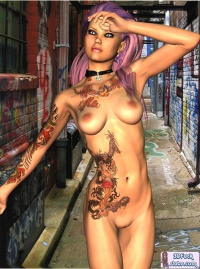 Tattooed punk cartoon undressed