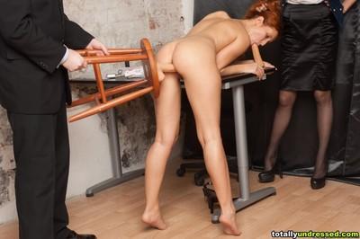 Secretary masturbates with sextoys for staff managers