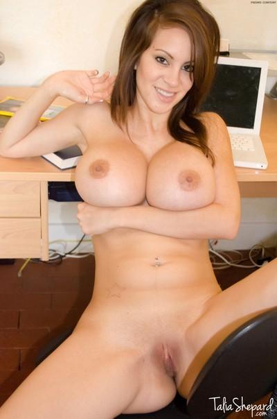Largest boobie talia shepard disrobes at her computer desk