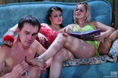 Double exotic ladies foot fist and strap-on pressure their comical guy fuck gear