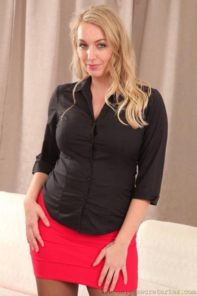 Breasty office princess in a diminutive petticoat