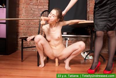 Stripped secretary demonstrates her two men plus one female skills