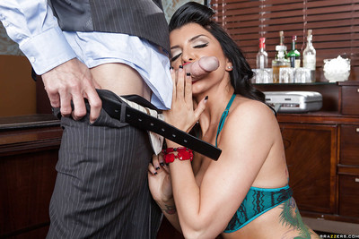 Moist lady in  Romi Rain acquires nailed on her office desk