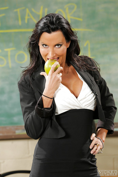 MILF act of love educator Lezley Zen whips out colossal juggs and masturbates at school