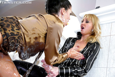 Clammy perfectly covered lesbian hotties are admires smutty porn deed with a weighty penis stimulator