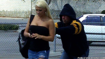 Titsy golden-haired acquire her dominant pulled down in public