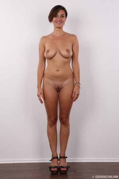 Clammy brown hair with good apples positions undressed