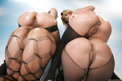 Four jaw-dropping untamed MILFs with fantastic fannies posing in nylon outfits