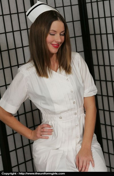 Delectable nurse striptease down to merely her