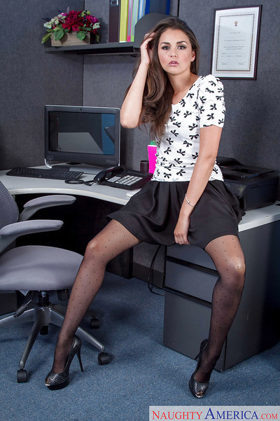 Insignificant secretary Allie Haze standing in swarthy panties and