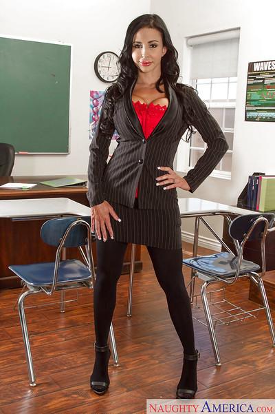 Boobsy mentor in  Jewels Jade exposing her gigantic waste in classroom