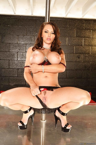 Fierce babe Jenna Presley with mammoth woman passports is striptease on the pole
