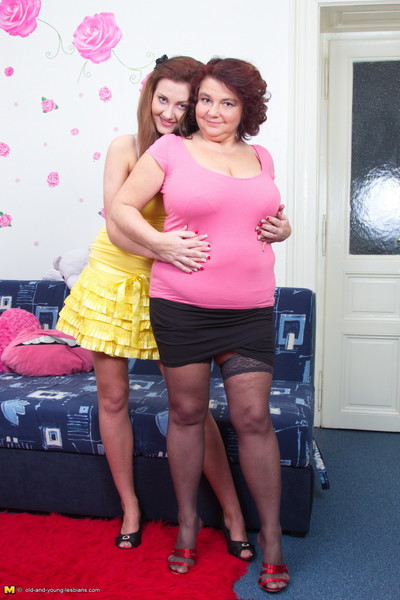 Large breasted mellow girl-on-girl activity a moist young cutie