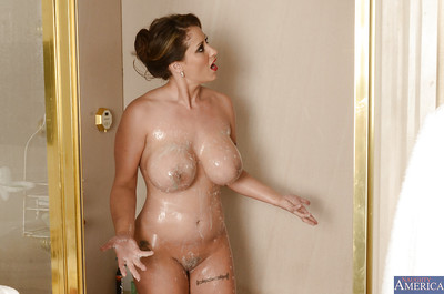 Charming MILF with enormous pantoons pleasing washroom and rubbing her soapy changes direction
