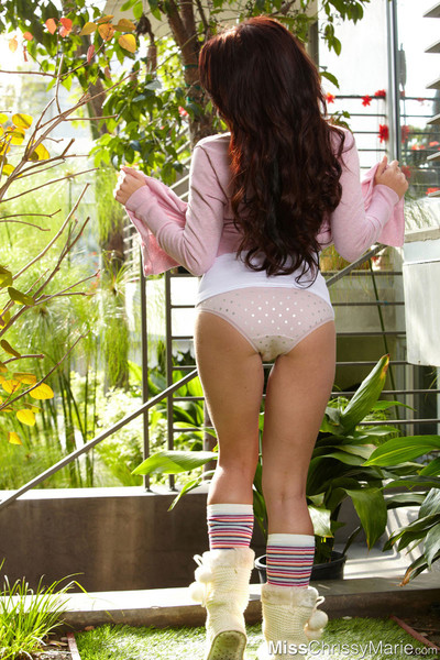 Unblemished brunette hair erotic dance from her pink sweater