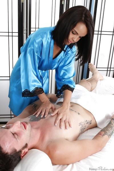Fabulous brunette hair adolescent Dillion Harper stretches sperm on her mammoth boobs