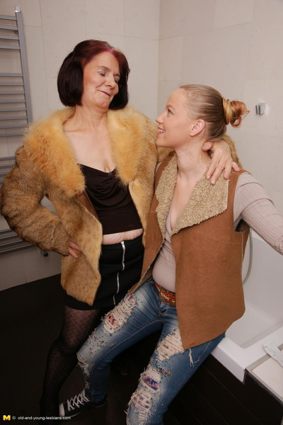 Slutty old and infant female-on-female duo fade away hawt