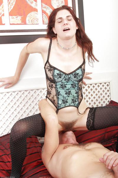 Teen redhead Susanna plating unshaved vagina on man
