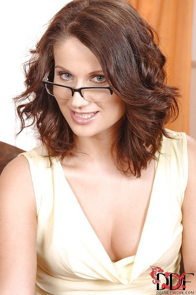 Sexual lady in glasses lifting up her petticoat and jacking off her snatch