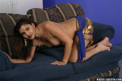 Untamed indian lass on high heels slothfully uncovering her bewitching bows
