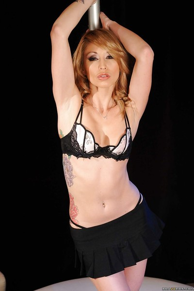 Extreme stripper wife Monique Alexander takes her clothes off off fine underware on stage