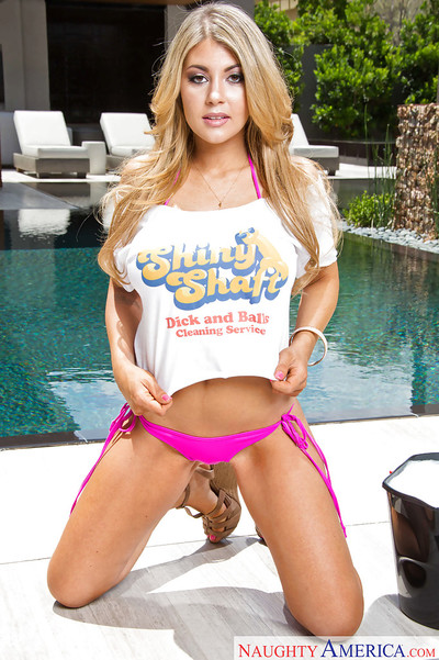 Solo angel Kayla Kayden exposing enormous damp love muffins outdoors by swimming pool