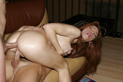 Sexually aroused gigantic busted MILF enjoys a two men plus one female with DP