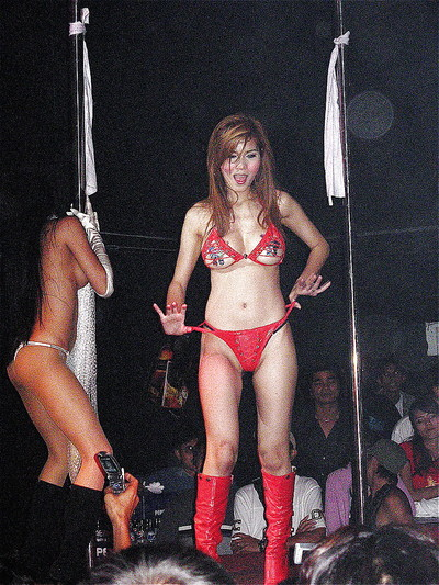 Lean eastern queens in boots and erotic sexy pants act stripping