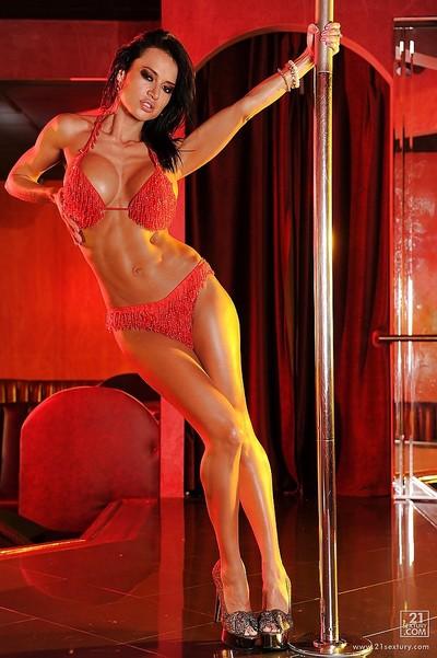 Angel dark hair Franceska Jaimes is deed the unsurpassed stripping dance
