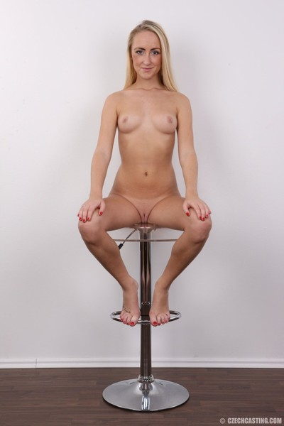 Untamed young golden-haired in casting pictures