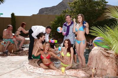 Appealing milfs Dani Daniels and Monique Alexander on a fanatical pool gathering