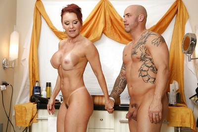 Raunchy cougar Janet Mason giving tugjob and dick sucking to younger stud