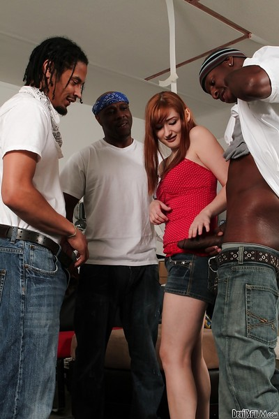 Interracial groupie session with astonishing redhead Violet Monroe