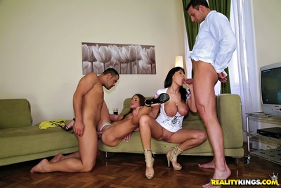 Curvy euro dears Alison Star & Cathy Heaven in extreme group activity
