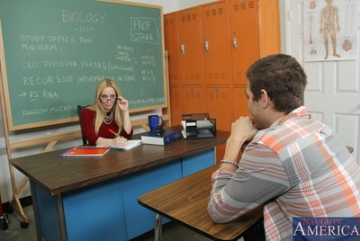 Perspired golden-haired educator is juicy and lewd for her student.