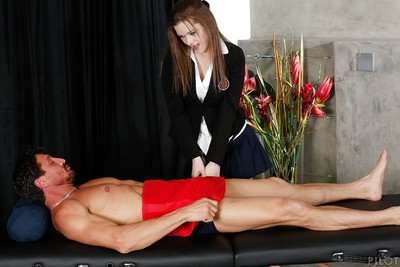 Totally covered infant schoolgirl Penny Brooks giving a cock masturbating