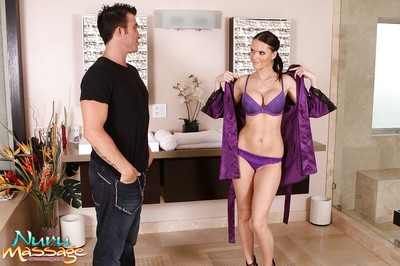 Tall boobsy vixen gives an erotic massage concluding with sperm on her face