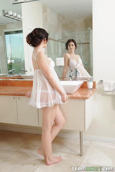 Extraordinary adolescent Ashlyn Rae toying her shiny on top cum-hole in the bathroom