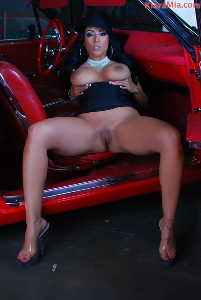 Untamed chicana kiara mia positions next to this low rider. this chick benefits from so sticky and concupiscent s